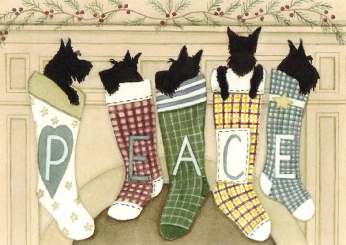 (12 Christmas cards: Scottish terriers (scotties) hung by the chimney with care / Lynch folk art)