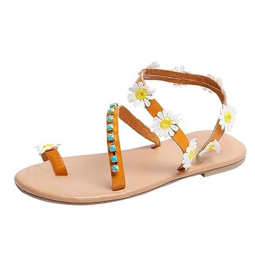 87ab79661e38f6 LHWY Sandalen Damen Sommer Frauen Böhmen Sandalen Blumendekoration Flach  Strandschuhe Wohnungen Slip On Große Größe Schuhe