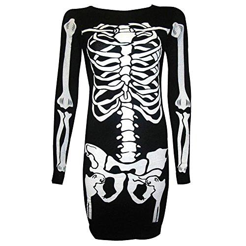 HENCY Women's Halloween Printed Swing Skeleton Bodycon Dress T-shirt for Party, Halloween-21, -