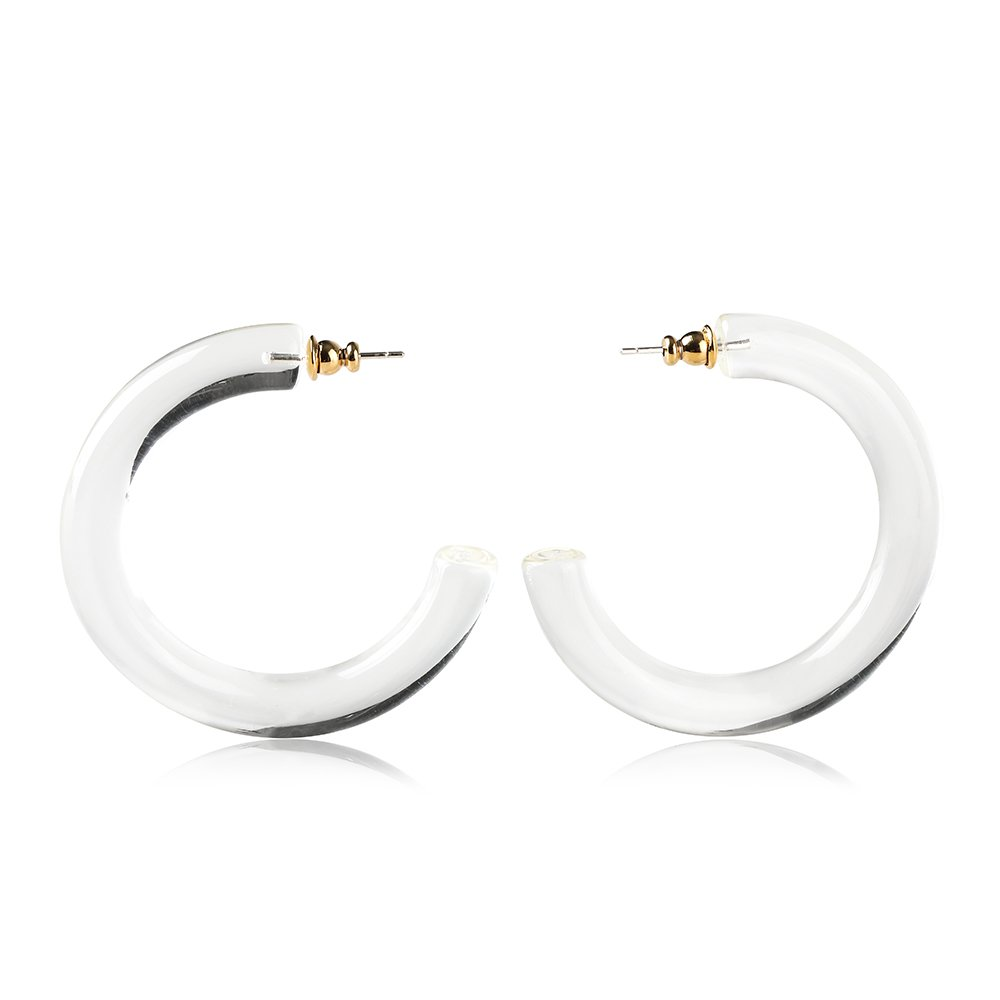Classic hoop earrings and Bohemia Acrylic Resin Hoops Stud multicolor Earrings by the F&G's Flow Painting earrings (Transparent white)