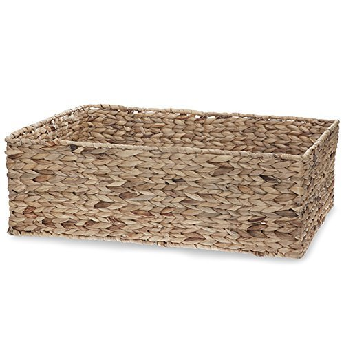The Lucky Clover Trading Natural Rectangular Rush Storage Basket (Wicker Cd Storage Baskets)
