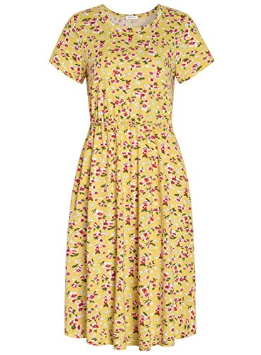 Weintee Women's Shirred Waist Midi Dress with Pockets S Yellow Floral ()