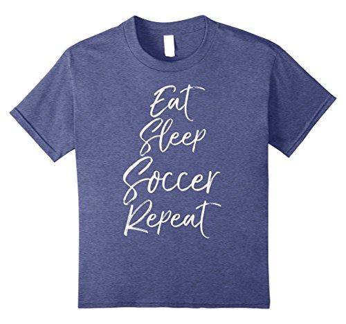 Kids Eat Sleep Soccer Repeat Shirt Vintage High School Team Tee 12 Heather Blue