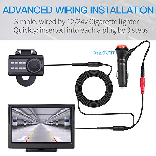 Car Backup Camera and 4.3 LCD Rear View Monitor Kit, 12V-24V Universal Wired Night Vision License Plate Camera Wide Angle with Parking Reverse System Waterproof