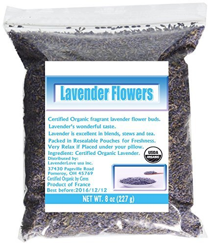 LavenderLove French Lavender Flowers USDA Organic Dried Lavender 8oz (Culinary Grade)