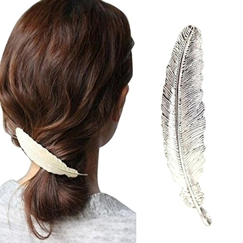 Barrettes Accessories,Elevin(TM) Women Girls Leaf Hair Pins Clip Hair Claw Barrettes Accessories Ponytail Holder (9.52cm, - Ivory Butterfly Beads
