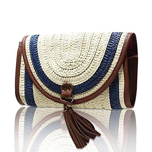 las Straw de bolsa primavera bolsa fancylande modelos Café mujeres en bolsa Bellota bolso salvaje tissés ratán sobre hombro y Azul saco verano de el a0SdZ0wq