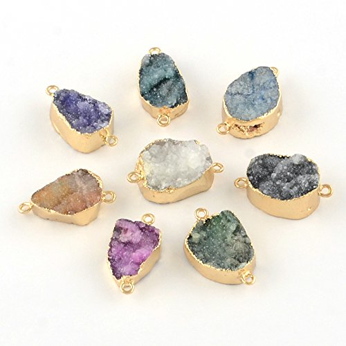 Fashewelry Mixed Color 5 pcs Golden Plated Dyed Natural Druzy Agate Links, 27~29x14~18x7~12mm, Hole: (Agate Link)