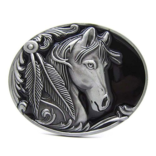 Native Western Wild Horses Head Feathers Belt Buckle Rodeo Cowboy Art (Native Knife Outdoors American Wild)