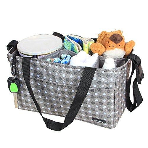 Damero Organizador para pañales de bebé Mochila de cambios Bolsa para guardar juguetes para bebés, con correas apto para cochecito, Gris Gris