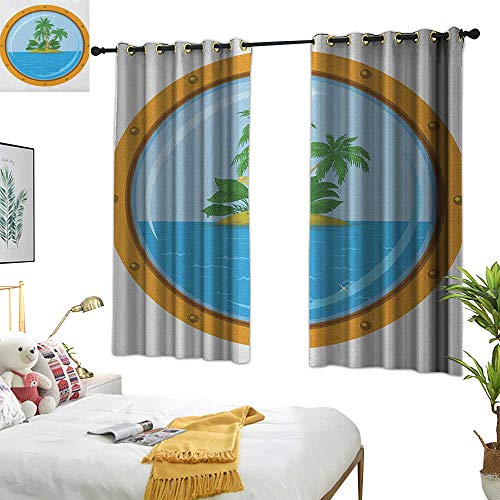 Warm Family Curtain Set Island,Graphic of Tropic Island View from The Bronze Ship Window with Palm Trees, Blue Green Orange 72