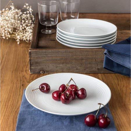 Round Ribbed Salad Plates, White, Set of 6