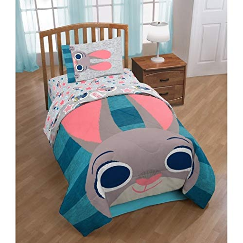 5 Piece Blue Grey Kids Disney Zootopia The Movie Theme Comforter Twin Set, Fun Multi Stripe Reversible Bedding, Cute All Over Disneys Star Characters Judy Hopps Bunny Nick Wilde Finnick ()