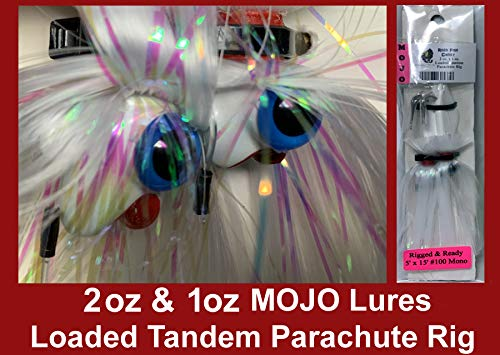 Blue Water Candy - Rock Fish Candy 2 oz & 1 oz Mojo Lure Loaded with 4-Inch Swimbait Shad Bodies Tandem Parachute Rigged & Ready (White)