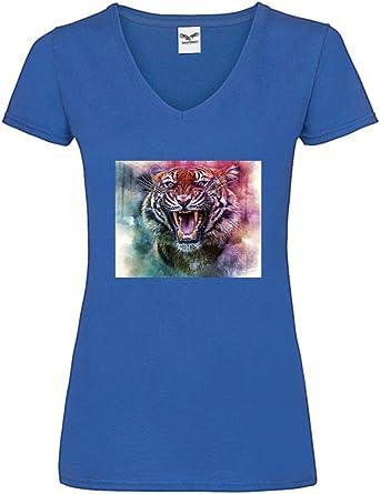 Camiseta V – tigre gato mamífero gato – Camiseta para mujer y mujer con cuello en V