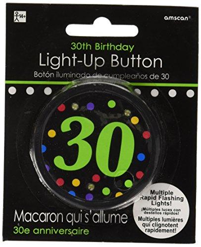 amscan 30th Birthday Flashing Button, 6 Ct.