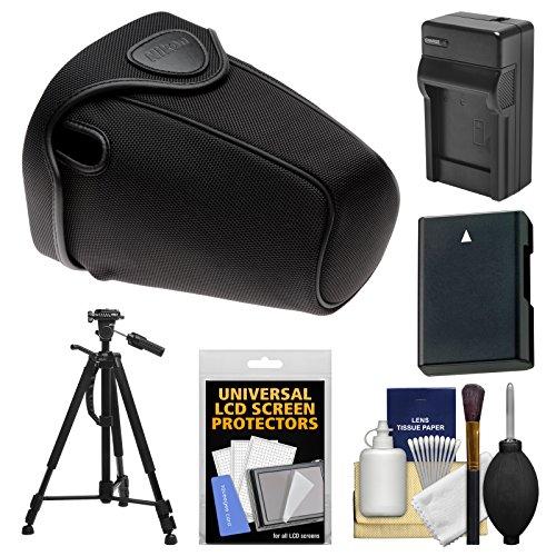 Nikon CF-DC2 Semi-Soft Holster Digital SLR Camera Case for D3300, D3400, D5500, D5600 with EN-EL14 Battery & Charger + Tripod + Kit