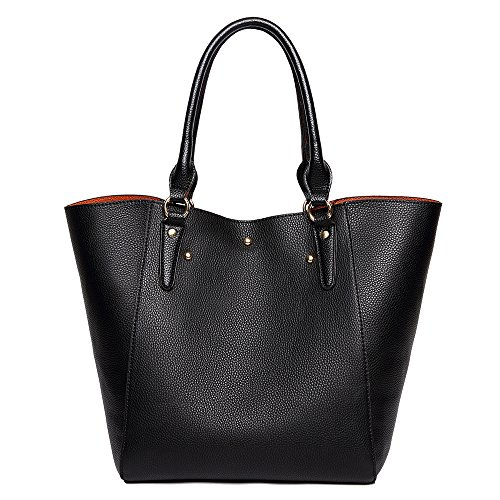 Tibes Fashion Women Handbags Shopping Bag Shoulder Bags Women Leather Tote Bag Clutches Bags D Black