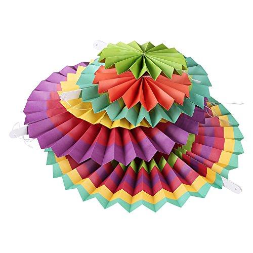 MOWO Hanging Paper Fan Set for Wedding/ Christmas Decoration, Home Decor Supplies Flavor(Assorted Color, 12 pcs) by MOWO (Image #6)