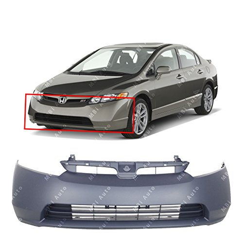 MBI AUTO – Primered, Front Bumper Cover Fascia for 2006 2007 2008 Honda Civic 1.8 Sedan 06 07 08, HO1000239