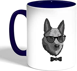 Printed Coffee Mug, Blue Color, Wolf wearing glasses