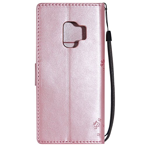 Samsung Galaxy A8(2018) Flip Cuero Funda - Alta Calidad Cuero de la PU /Stent/Billetera/Paquete de Tarjetas/Proteccion Caso Cubrir para Samsung Galaxy A8(2018)(Rosa) Rosa