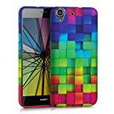kwmobile TPU SILICONE CASE for Huawei Y6 (2015) Design rainbow cubes multicolor green blue - Stylish designer case made of premium soft TPU