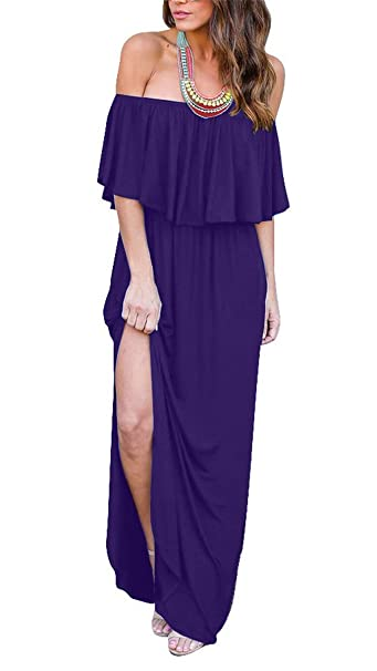 204fae9a1842 Womens Maxi Dress Off The Shoulder Ruffle Dresses Side Split Long Maxi Dress  (Purple S) at Amazon Women s Clothing store