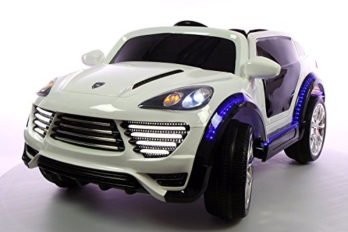 porsche cayenne style premium 12 volt mp3 electric battery powered ride on kids boys girls toy car rc parental remote led lights music leather seat real