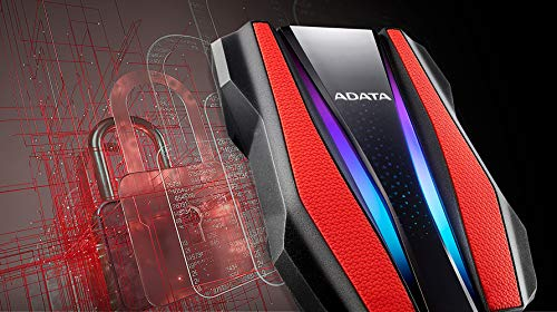 ADATA Durable Series HD770G RGB 2TB Red External USB 3.1 Portable Hard Drive Compatible with Xbox and PS4 (AHD770G-2TU32G1-CRD)