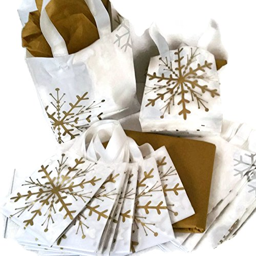 20 Gold Snowflake Gift Shopping Bags Bundle Small 6x6x3 Inches and Medium 10x8x4 includes 24 Sheets Antique Gold Tissue ()