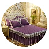 Vghi duvet-cover-sets Luxury Bedspreads and 2PCS Pillowcase Thick Cotton Bed Skirt with Lace Edge Twin Queen King Size Bedding Set Non-Slip,Plum,180x220cm-3pcs