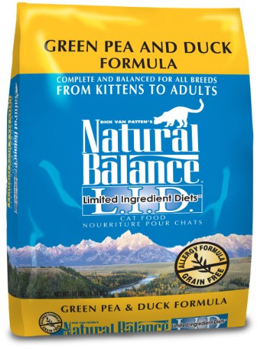 Natural Balance Dry Cat Food Limited Ingredient Diet Green Pea and Duck Formula 10 Pound Bag