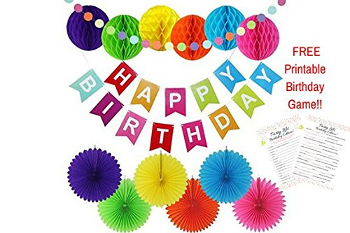 Birthday Decorations | Party Supplies | Happy Birthday Banner | 6 Paper Fans/6 Honeycombs: Purple, Green, Yellow, Orange, Blue, Pink | Multicolor Circle Garland | Birthday Set For All Ages/Adults/Kids