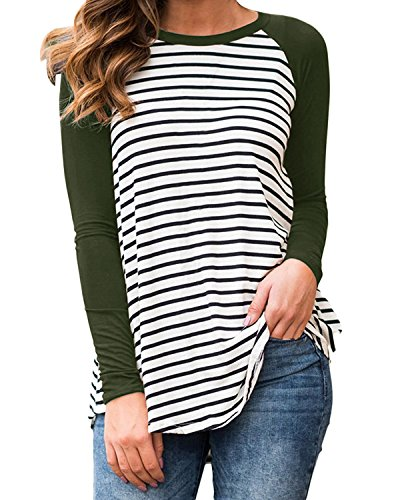 Cnfio Womens Blouses Striped Shirts Long Sleeve Round Neck Patchwork Casual Tops Army Green XL by Cnfio (Image #1)