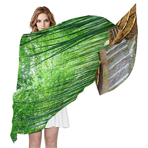MAHU Silk Scarf Japanese Zen Bamboo Road Fashion Lightweight Sheer Shawl Wrap Long Muffler for Women