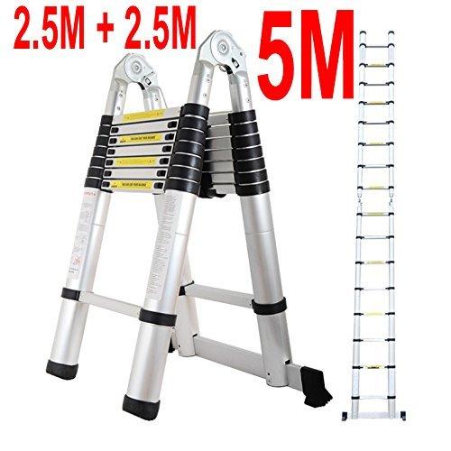 5M Aluminium Multi-Purpose Folding Telescopic Ladder A Frame Shape EN131