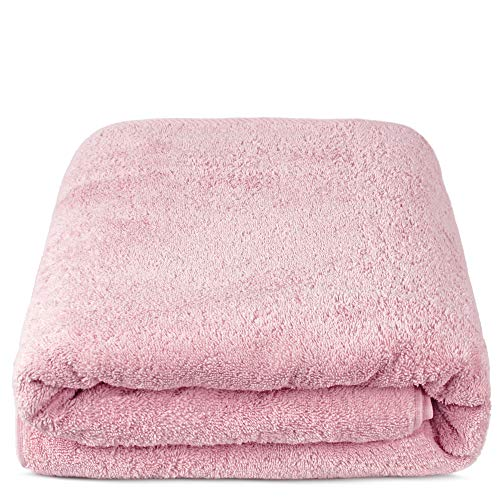 TURKUOISE TURKISH TOWEL % 100 Turkish Cotton Luxury and Super Soft Towels (Bath Sheet Oversize, Pink)