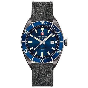 Swiss Military Herren 44mm Schwarz Leder Armband Mineral Glas Uhr 06-4214.30.003