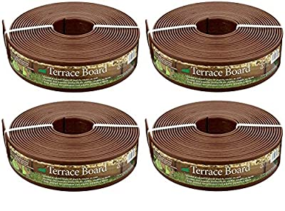 Master Mark Plastics 93340 Terrace Board Landscape Edging Coil 3 Inch by 40 Foot, Brown (Pack of 4)