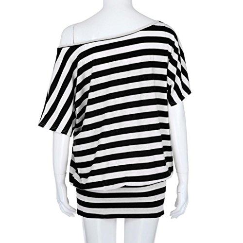 Corte Shirt Divertenti A Vintage Tumblr Donna Superiore Casuale Corta Manica Nero Strisce Maniche Magliette Camicetta Italily Collo Estate Maglietta Sciolto Slash Top 6RCqfwq
