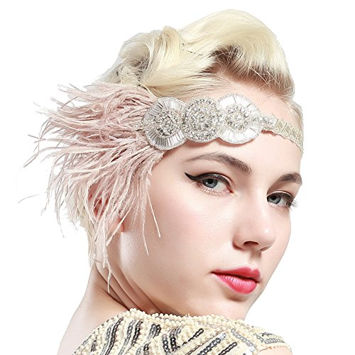BABEYOND Vintage 1920s Flapper Headband Roaring 20s Great Gatsby Headpiece with Feather 1920s Flapper Gatsby Hair Accessories (Apricot)