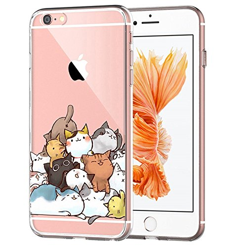 iPhone 6S Plus Case Clear with Design Cute Funny Kitty Cat Pattern Printed Protective Case for iPhone 6 6S Plus 5.5 Inch - Gel Soft Flexible Silicone Shock Absorption Cover for Teens Girls Kids
