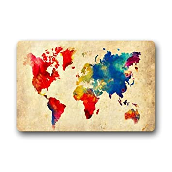 Abstract art print world map doormat rectangular amazon abstract art print world map doormat rectangular gumiabroncs Gallery