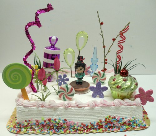 Wreck It Ralph Vanellope Racer Sugar Rush Themed Birthday Cake Topper Set Featuring The Glitch Von Schweetz And Other Candy