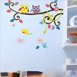 HuaYang DIY hibou arbre sticker mural décoration de la maison