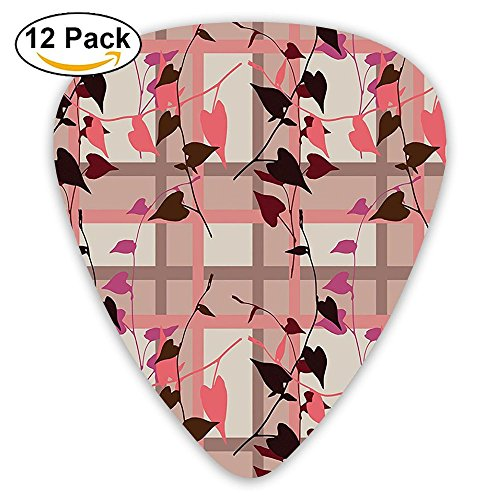 Newfood Ss Heart Shaped Swirling Leaves Over Striped Square Lines Urban Life Guitar Picks 12/Pack Set ()