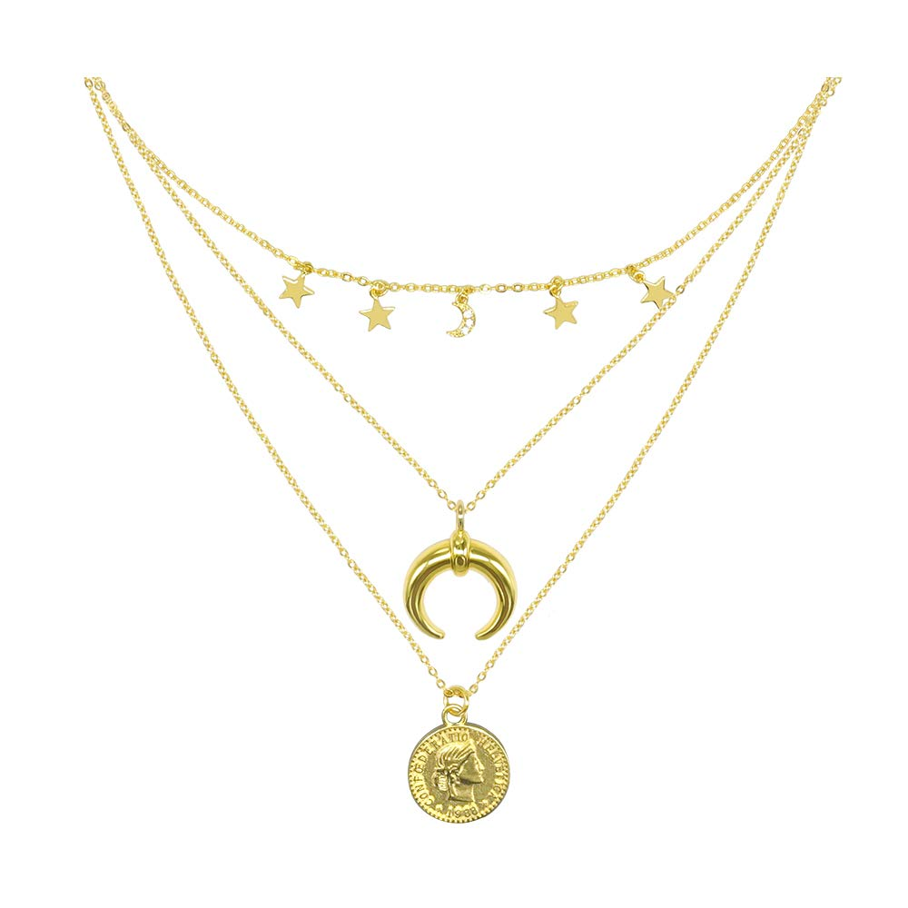 Helnal Moon Stars Coin Layered Choker Necklace Gold Plated Handmade Delicate Multi-Layer Crescent Pendant Necklace Set with CZ for Women Girls Chain Adjustable (Gold Moon Stars Coin Set) by Helnal