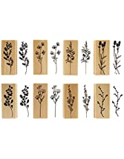 20 Pieces Vintage Wooden Rubber Stamps, Plant & Flowery Decorative Mounted Rubber Stamp Set for DIY Craft, Letters Diary and Craft Scrapbooking