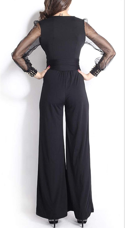 Women Jumpsuit Lace High Waist Long Sleeve V Neck Wide Leg Romper